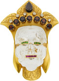Jewelry, A MULTI-STONE, GOLD BROOCH. ...