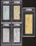 Baseball Collectibles:Others, 1984-03 Baseball Greats Lot of 5 Signed Checks. ...