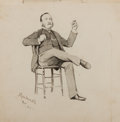 Books:Original Art, Original Illustration by James Wilson Alexander Macdonald. March, 1883. Wash drawing of seated man with cigar. Approximately...