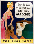 Books:Pamphlets & Tracts, [World War Two]. Top That 10% War Bonds Poster. U.S.Government, 1942. Humorous war bond poster with vivid color...