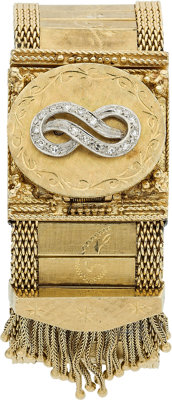 A LUCIEN PICCARD LADY'S DIAMOND, MOTHER-OF PEARL, GOLD COVERED DIAL WRISTWATCH