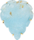 Estate Jewelry:Brooches - Pins, AN AQUAMARINE, GOLD BROOCH. ...