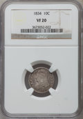 Bust Dimes: , 1834 10C Small 4 VF20 NGC. NGC Census: (4/298). PCGS Population(0/195). Mintage: 635,000. Numismedia Wsl. Price for proble...