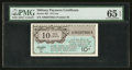 Military Payment Certificates:Series 461, Series 461 10¢ PMG Gem Uncirculated 65 EPQ.. ...