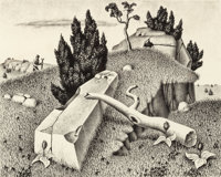 WILLIAM LEWIS LESTER (American, 1910-1991) The Rattlesnake Hunter, 1938 Lithograph 9 x 11 inches