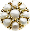 Estate Jewelry:Rings, A CULTURED PEARL, DIAMOND, GOLD RING. Property of a DallasLady...