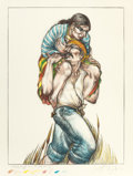 Fine Art - Work on Paper:Print, LUIS JIMÉNEZ (American, 1940-2006). Cruzando El Rio Bravo,1985. Hand-colored lithograph. 35-1/2 x 27 inches (90.2 x 68....