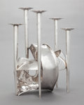 Silver Holloware, Continental, AN ITALIAN SILVER MODERNIST FIVE-LIGHT SCULPTURAL CENTERPIECE .Arrigo Finzi, Milan, Italy, circa 1950. Marks: Finzi, 365...