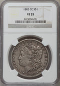 Morgan Dollars: , 1882-CC $1 VF35 NGC. NGC Census: (9/14616). PCGS Population (24/28142). Mintage: 1,133,000. Numismedia Wsl. Price for probl...