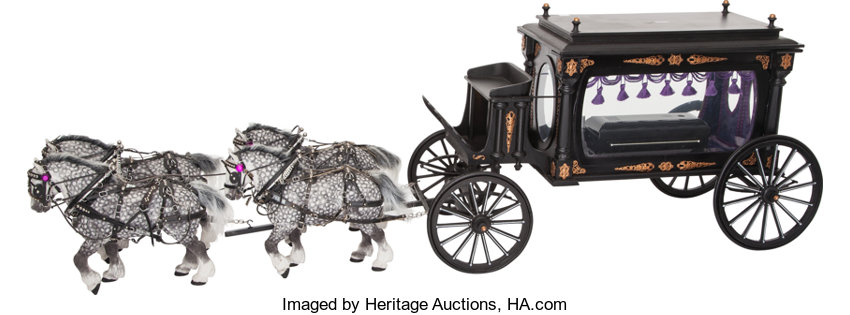 Scale Model Lincoln Era Horse Drawn Funeral Carriage 16 X 47 1 2
