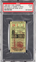 Baseball Collectibles:Tickets, 1939 Lou Gehrig's Last Game Ticket Stub, PSA VG 3....