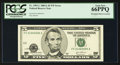 Error Notes:Shifted Third Printing, Fr. 1991-C $5 2003A Federal Reserve Note. PCGS Gem New 66PPQ.. ...