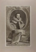 """Books:Prints & Leaves, Jacobus Houbraken. Engraved Portrait of Thomas Lord Coventry, LordKeeper. London: I and P Knapton, 1741. 14"""" x 20"""". Tipped ..."""