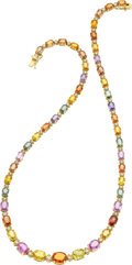 Estate Jewelry:Necklace, A MULTI-COLOR SAPPHIRE, DIAMOND, GOLD NECKLACE . ...