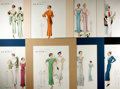 """Books:Prints & Leaves, Group of Eight Fashion Illustrations. [n.d.]. Circa 1930s. Tippedonto backings and matted to a full size of 14.75"""" x 18.75..."""