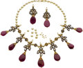 Estate Jewelry:Coin Jewelry and Suites, A SUITE OF RUBY, DIAMOND, CULTURED PEARL, ENAMEL, GOLD JEWELRY. ... (Total: 3 Items)
