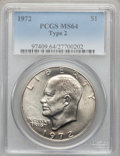 Eisenhower Dollars, 1972 $1 Type Two MS64 PCGS. PCGS Population (466/61). Numismedia Wsl. Price for problem free NGC/PCGS c...