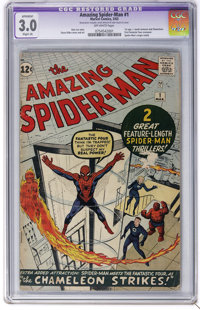 The Amazing Spider-Man #1 (Marvel, 1963) CGC Apparent GD/VG 3.0 Slight (A) Off-white pages. Spider-Man's origin is retol...