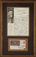 """Western Expansion:Cowboy, AUTOGRAPH LETTER SIGNED BY WILLIAM """"BUFFALO BILL"""" CODY ON HISLETTERHEAD. Brilliant, bold handwritten letter from Cody to hi...(Total: 1 Item)"""
