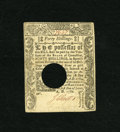 Colonial Notes:Connecticut, Connecticut June 1, 1780 40s About New, HOC. A center fold claims this note that has the usual cancellation....