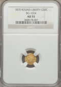 California Fractional Gold: , 1870 50C Liberty Round 50 Cents, BG-1024, Low R.4, AU55 NGC. NGCCensus: (2/14). PCGS Population (15/108). ...