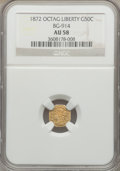 California Fractional Gold: , 1872 50C Liberty Octagonal 50 Cents, BG-914, R.4, AU58 NGC. NGCCensus: (4/10). PCGS Population (15/53). ...