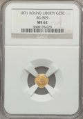 California Fractional Gold: , 1871 25C Liberty Round 25 Cents, BG-809, Low R.4, MS62 NGC. NGCCensus: (6/18). PCGS Population (16/71). ...