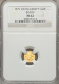 California Fractional Gold: , 1871 50C Liberty Octagonal 50 Cents, BG-924, R.3, MS62 NGC. NGCCensus: (9/4). PCGS Population (73/61). ...
