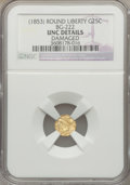 California Fractional Gold, (1853) 25C Liberty Round 25 Cents, BG-222, R.2, -- Damaged -- NGCDetails. UNC. NGC Census: (0/104). PCGS Population (7/400...