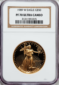 1989-W G$50 One-Ounce Gold Eagle PR70 Ultra Cameo NGC. NGC Census: (846). PCGS Population (365). Mintage: 54,570. Numism...