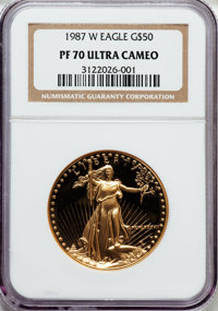 1987-W G$50 One-Ounce Gold Eagle PR70 Ultra Cameo NGC. NGC Census: (1208). PCGS Population (415). Mintage: 147,498. Numi...