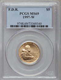 1997-W G$5 Franklin D. Roosevelt Gold Five Dollar MS69 PCGS. PCGS Population (1578/222). NGC Census: (371/445). Mintage:...
