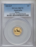 Australia, 2014-P $5 1/20th Ounce Gold Year of the Horse MS70 PCGS. PCGSPopulation (46). NGC Census: (0)....