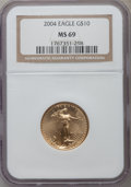 Modern Bullion Coins, 2004 G$10 Quarter-Ounce Gold Eagle MS69 NGC. NGC Census:(2343/1244). PCGS Population (14049/421). Numismedia Wsl. Pricef...