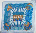 "Luxury Accessories:Accessories, Hermes Blue, Teal & Gold ""Ombres et Lumieres,"" by Annie Faivre Plisse Pleated Silk Scarf. ..."