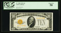 Small Size:Gold Certificates, Fr. 2400 $10 1928 Gold Certificate. PCGS About New 50.. ...