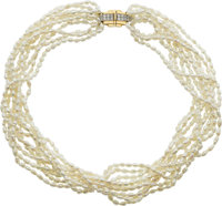A FRESHWATER CULTURED PEARL, DIAMOND GOLD NECKLACE
