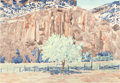Works on Paper, MALOU FLATO (American, b. 1953). Blue Fence, 1985. Watercolor on paper. 31 x 44-1/2 inches (78.7 x 113.0 cm) (sheet). Si...