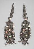 Sculpture, A PAIR OF CONTINENTAL PATINATED BRONZE AND PORCELAIN TWO-LIGHT SCONCES. Early 20th century. 30 x 9 x 4 inches (76.2 x 22.9 x... (Total: 2 Items)