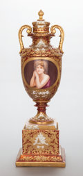 Ceramics & Porcelain, A ROYAL VIENNA-STYLE PAINTED AND PARCEL GILT PORCELAIN URN: PENSÉE. 19th century. Marks: PENSEE. 23-1/4 inches h...