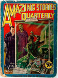 Books:Science Fiction & Fantasy, [H.G. Wells]. Amazing Stories Quarterly, Winter 1928. New York: Experimenter, 1928. Publisher's wrappers. Wear to ed...
