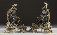 A PAIR OF LOUIS XV-STYLE GILT AND PATINATED BRONZE FIGURAL PUTTI CHENETS Late 19th century 20-1/4 inches high