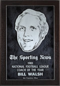 """Football Collectibles:Others, 1981 Bill Walsh """"The Sporting News"""" NFL Coach of the Year Presentation Plaque...."""