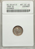 Seated Half Dimes: , 1838 H10C Large Stars, No Drapery -- Cleaned -- ANACS. AU Details Net XF40. NGC Census: (5/658). PCGS Population (8/533). M...
