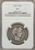 Barber Half Dollars: , 1892-O 50C Good 6 NGC. NGC Census: (35/256). PCGS Population(59/414). Mintage: 390,000. Numismedia Wsl. Price for problem ...