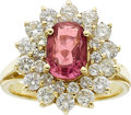 Estate Jewelry:Rings, A PINK SAPPHIRE, DIAMOND, GOLD RING. ...