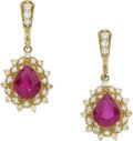 Estate Jewelry:Earrings, A PAIR OF RUBY, DIAMOND, GOLD EARRINGS. ...
