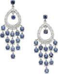 Jewelry, A PAIR OF DIAMOND, SAPPHIRE, WHITE GOLD EARRINGS. ...