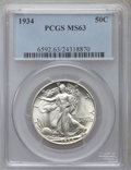 Walking Liberty Half Dollars: , 1934 50C MS63 PCGS. PCGS Population (594/2430). NGC Census:(307/1655). Mintage: 6,964,000. Numismedia Wsl. Price for probl...