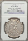Seated Dollars: , 1847 $1 -- Improperly Cleaned -- NGC Details. VF. NGC Census:(7/431). PCGS Population (6/564). Mintage: 140,750. Numismedi...
